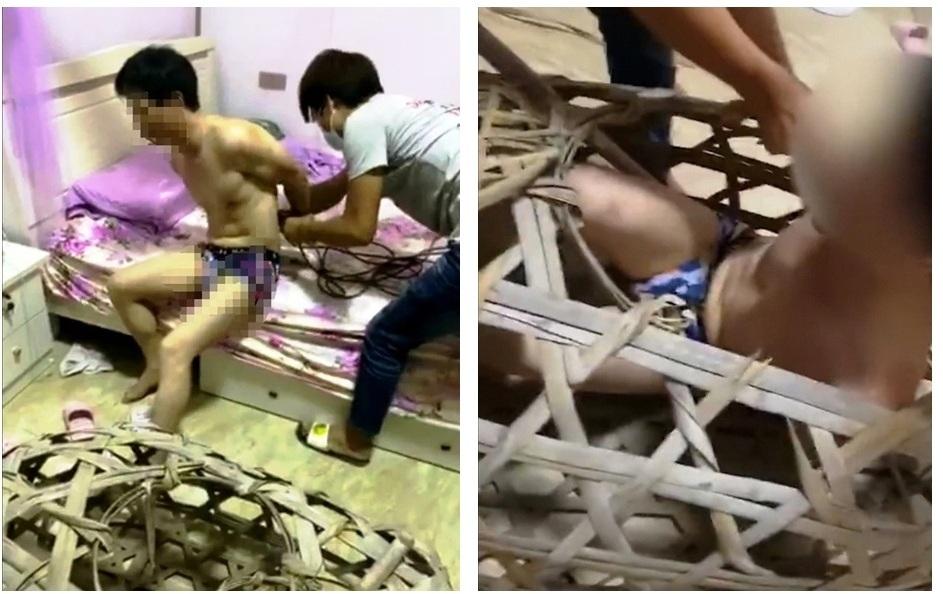 Người đàn ông ngoại tình bị nhốt vào lồng tre