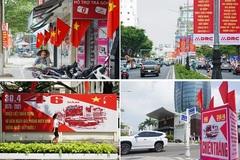 Hình ảnh đường phố rợp sắc cờ đỏ trước đại lễ 30/4