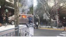 Xe hơi bốc cháy lao thẳng vào người đi bộ ở Thượng Hải