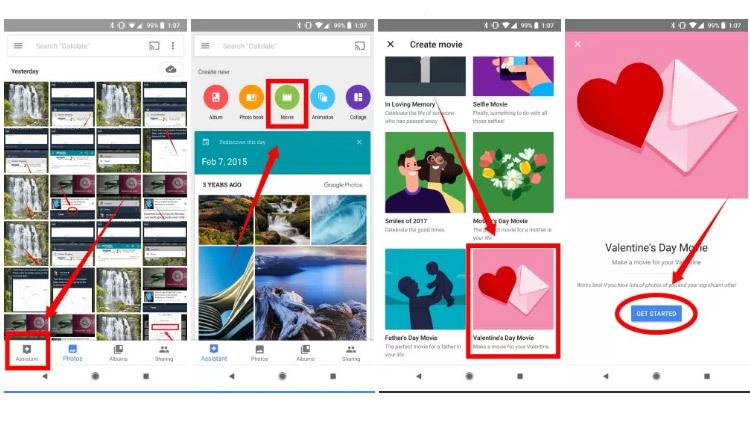 Cách dùng Google Photos tạo phim kỷ niệm ngày Valentine của bạn