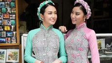 Vợ Tuấn Hưng và bạn thân đẹp không tì vết với áo dài