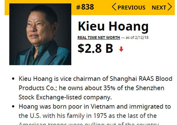 Đại gia Việt dằn túi tỷ USD: Ghi danh người giàu bậc nhất thế giới