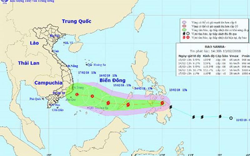 Bão Sanba mạnh lên khi vào Biển Đông