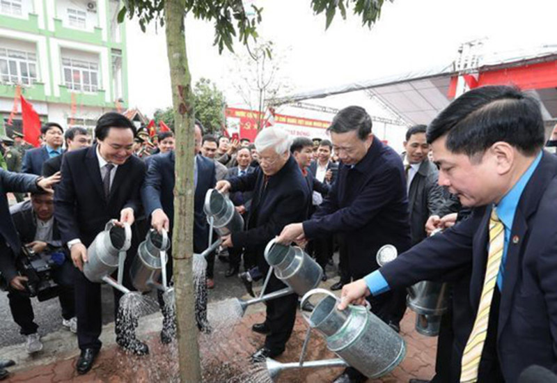 Tổng bí thư chúc Tết Đảng bộ, chính quyền, nhân dân tỉnh Hưng Yên