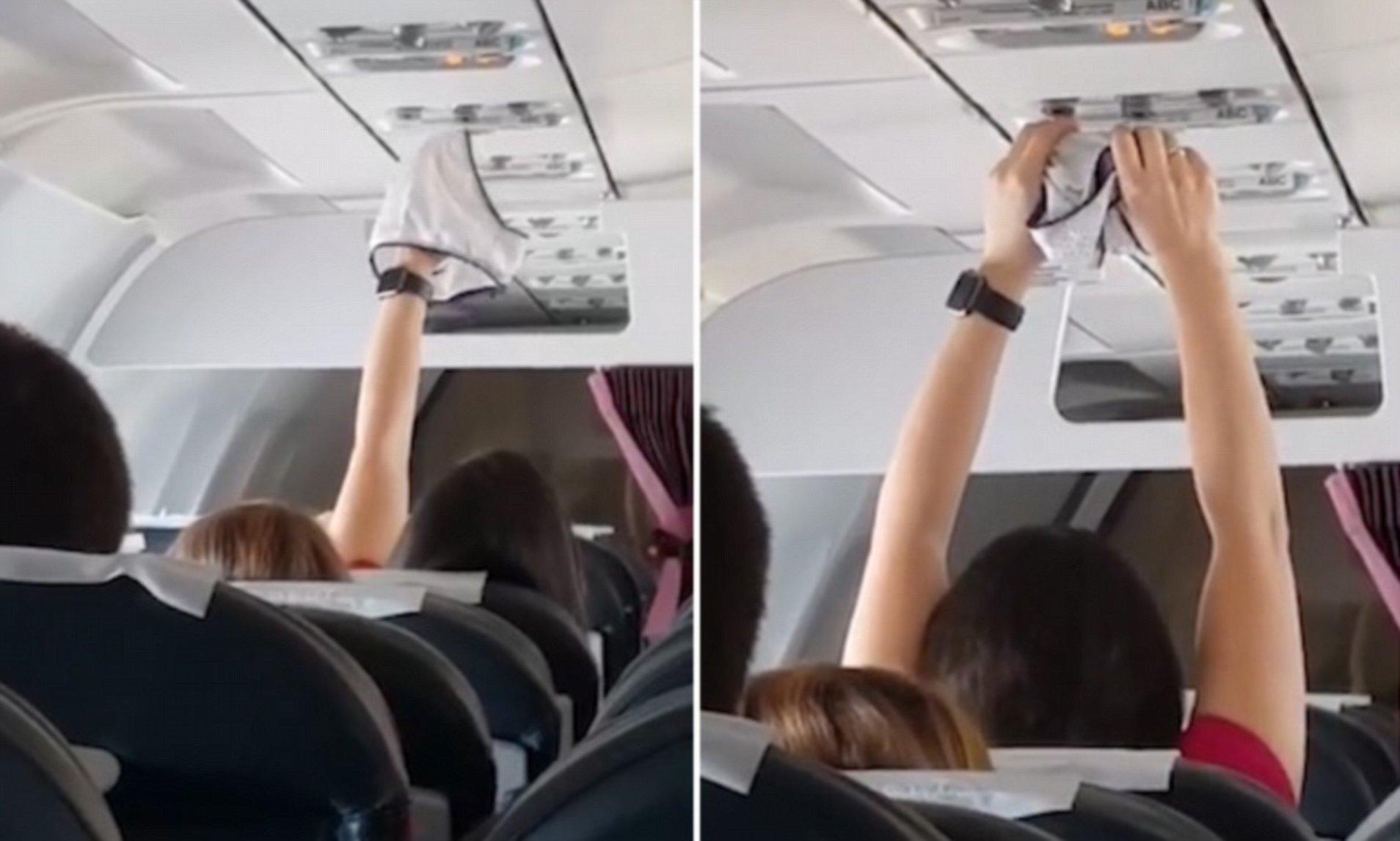Hành khách thản nhiên hong đồ lót trên máy bay