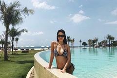 Bầu 6 tháng, siêu mẫu Hà Anh vẫn tự tin mặc bikini bên bể bơi