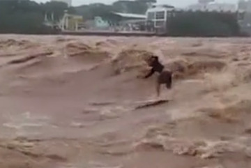 Đam mê lướt sóng bất chấp cả... lũ lụt
