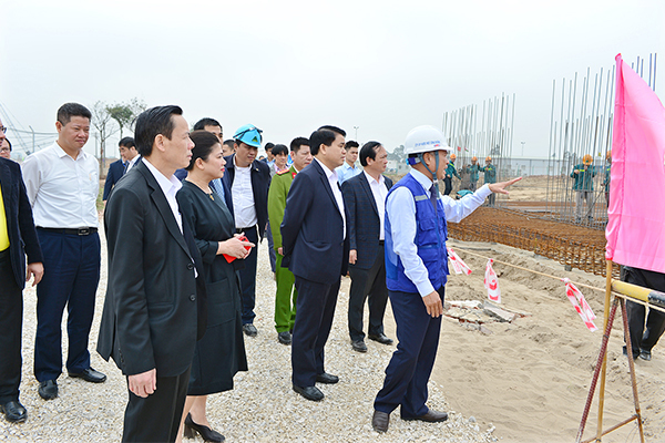 Chủ tịch HN kiểm tra tiến độ dự án nhà máy nước mặt sông Đuống