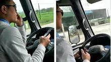 Tài xế lái xe buýt bằng khuỷu tay, hành khách chết khiếp