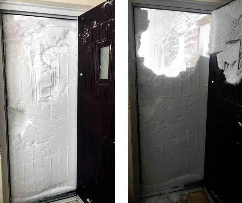 Anh hứng bão tuyết, tường tuyết che kín cửa nhà dân
