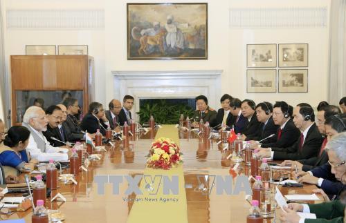 Chủ tịch nước Trần Đại Quang hội đàm với Thủ tướng Ấn Độ