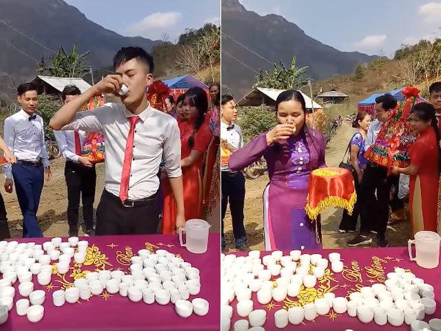 Nhà trai bối rối vì phải uống hết 99 chén rượu mới được đón dâu