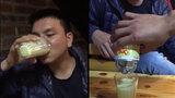 Chàng thanh niên uống hết cả hộp sữa đặc
