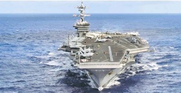 Xem siêu tàu sân bay US Carl Vinson lừng lững rẽ sóng Thái Bình Dương