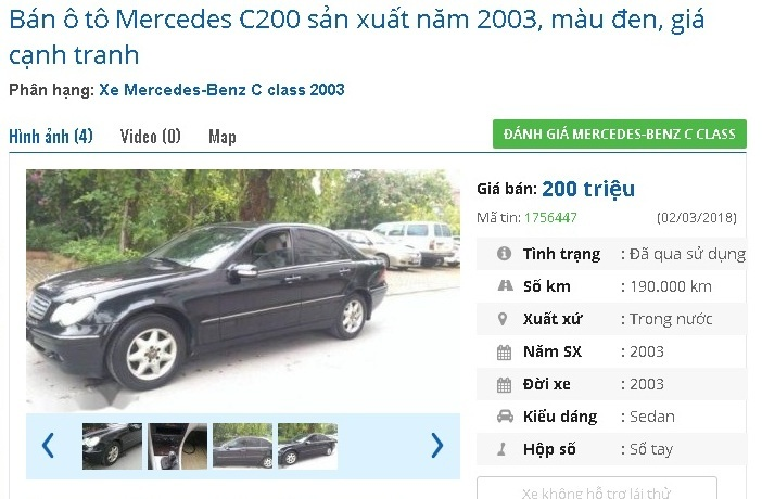 Những ô tô cũ chính hãng giá 200 triệu đang rao bán tại Việt Nam