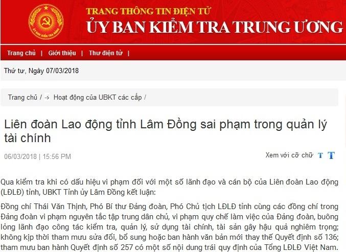 Kỷ luật Phó bí thư Đảng đoàn, Phó chủ tịch LĐLĐ tỉnh Lâm Đồng