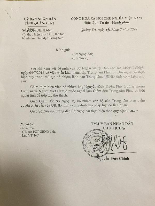 Chủ tịch Quảng Trị: Không có ưu ái nào cho con trai tôi