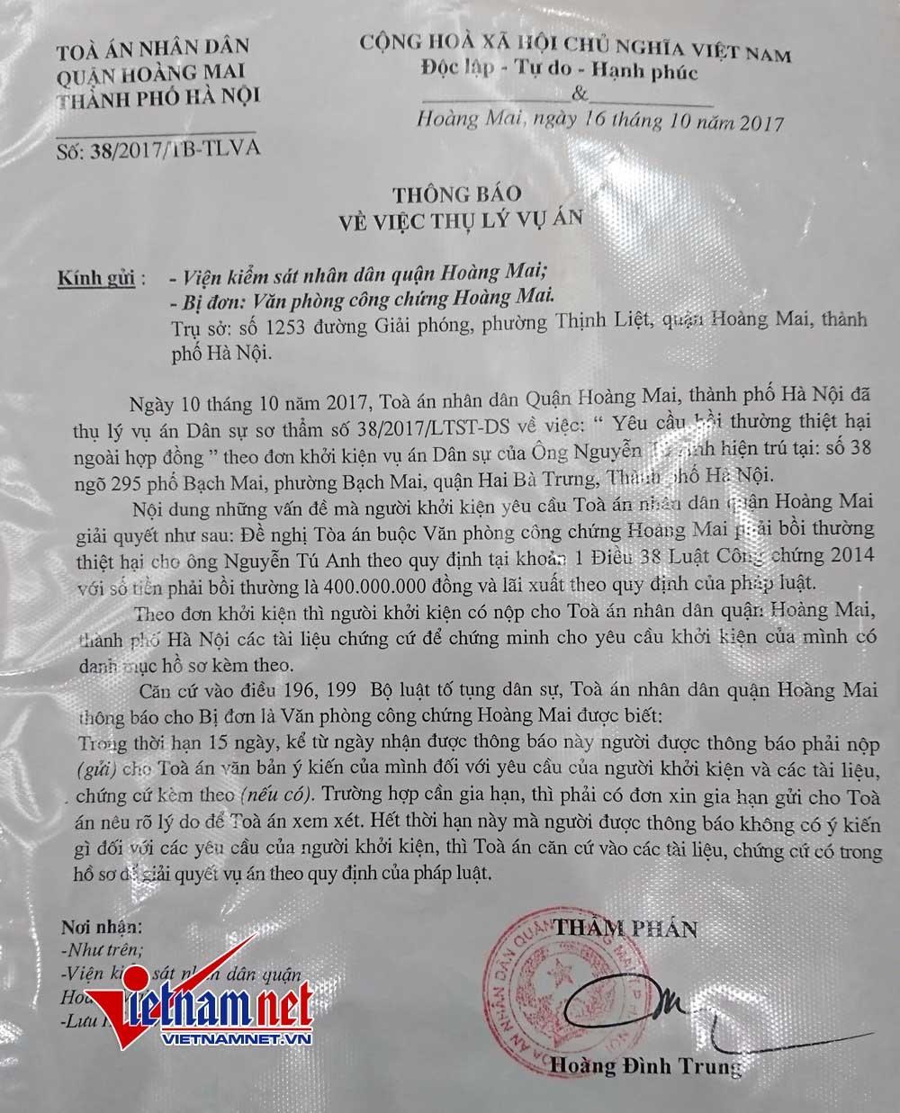 Hà Nội: Sai tên tuổi vẫn công chứng mảnh đất 400 triệu