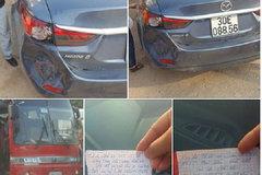 Lỡ đâm móp đuôi Mazda 6, bác tài để lại giấy nhắn dễ thương