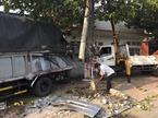 Container húc văng xe tải, đâm nát nhà dân ở Bình Dương