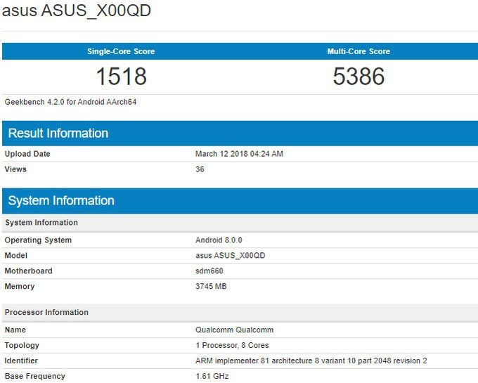 Lộ thông tin chưa công bố về Asus ZenFone 5 Max trên Geekbench