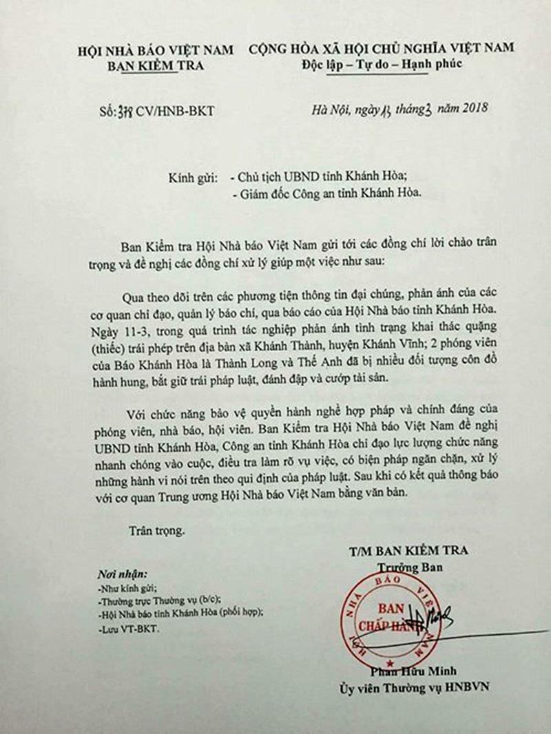 hành hung phóng viên,Khánh Hòa,Hội Nhà báo