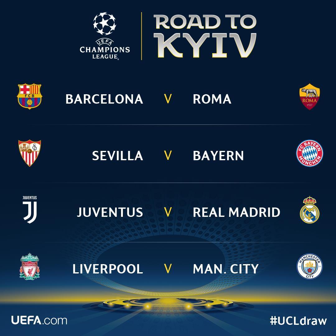 Xem trực tiếp lượt đi vòng tứ kết Champions League ở đâu?