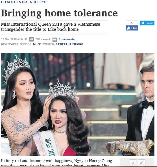 Báo ngoại nói gì về Hoa hậu chuyển giới Hương Giang?