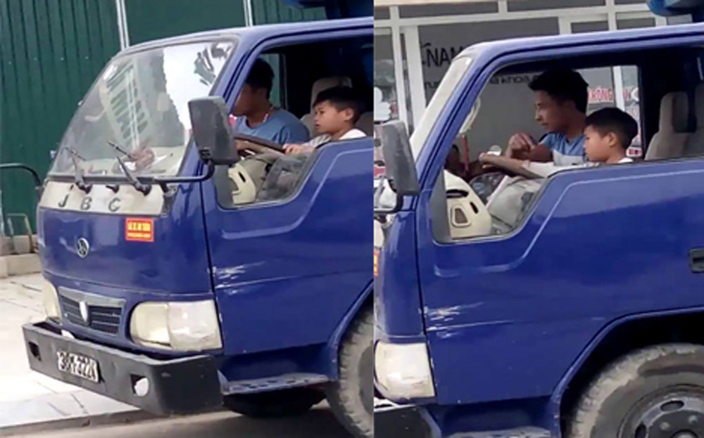 Kinh hãi ông chú ở Thanh Hóa giao tay lái xe tải cho cháu 10 tuổi