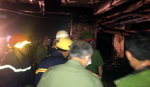 biến dạng hầm để xe chung cư bị cháy