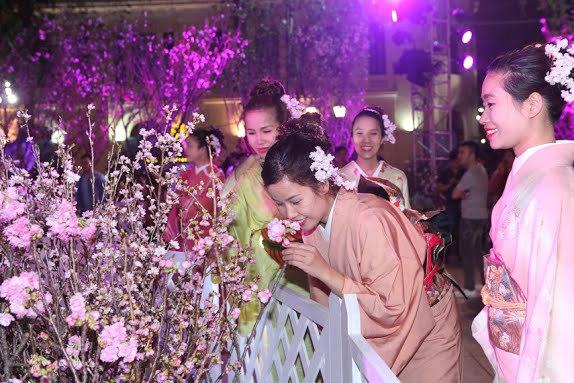 Giới trẻ đổ xô chụp ảnh tại lễ hội hoa anh đào