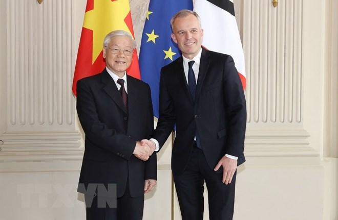 Tổng bí thư hội kiến với Chủ tịch Quốc hội Pháp