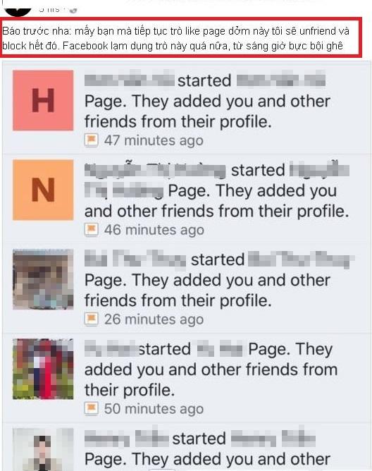 Người dùng Facebook Việt bức xúc vì bị ép like Fanpage cá nhân