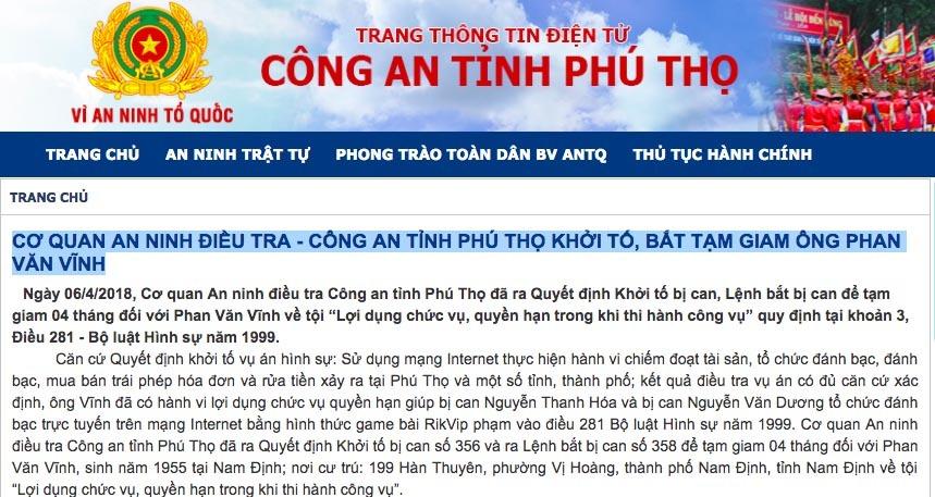 Đủ căn cứ xác định ông Phan Văn Vĩnh tổ chức đánh bạc thế nào