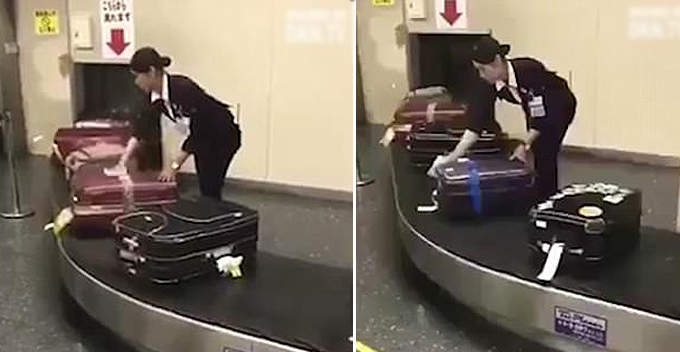 Nữ nhân viên sân bay lau từng chiếc vali của khách gây sốt