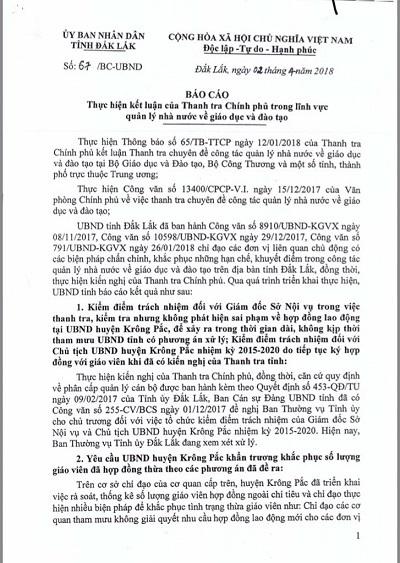 Giáo viên hợp đồng,Mất việc,Kỷ luật,UBND huyện Krông Pắk,Đắk Lắk,Thanh tra Chính phủ,Nguyễn Thành Dũng,Nguyễn Sỹ Kỷ