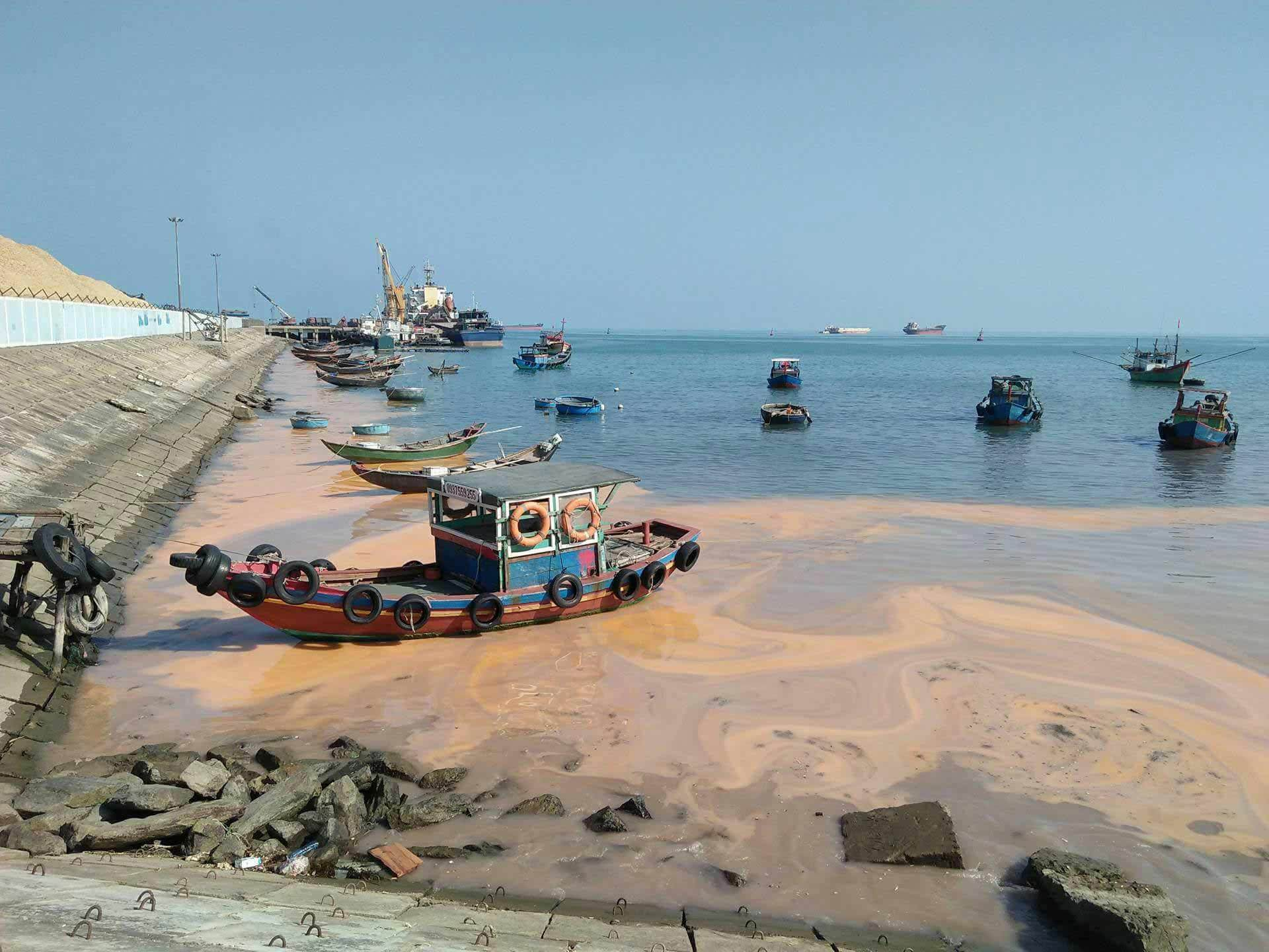 Vệt nước lạ màu gạch đậm đặc ở biển Quảng Bình