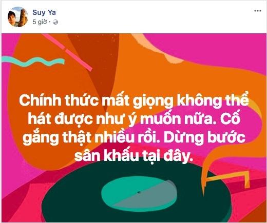 Mất giọng, Ya Suy tuyên bố từ bỏ sân khấu