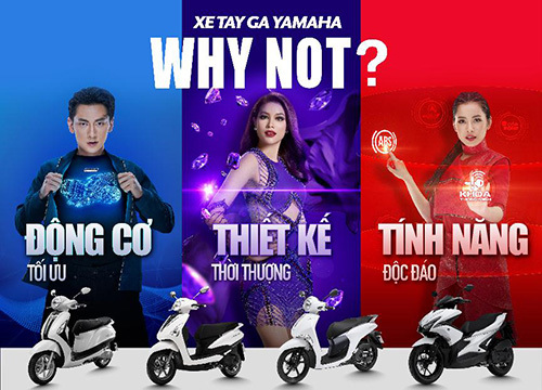 Chiến dịch xe tay ga của Yamaha phủ sắc xanh, tía, đỏ