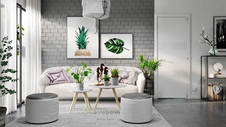 Mẫu phòng khách trang trí giản dị với tông màu xám