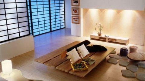 Nội thất phòng khách tinh tế kiểu Nhật