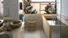 Phong cách nội thất phòng tắm tối giản kiểu Nhật Bản