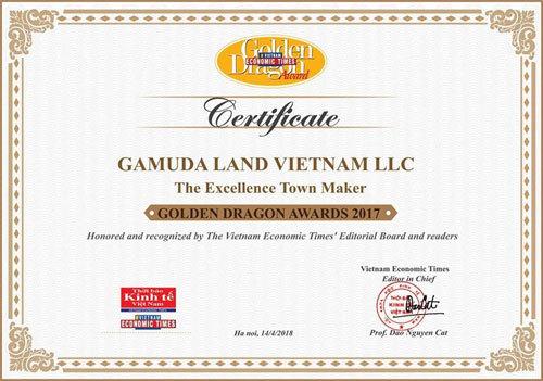 Gamuda Land Việt Nam nhận Giải thưởng Rồng Vàng 2017-2018