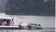 Ô tô 16 chỗ suýt trôi xuống biển khi qua phà đi Tuần Châu