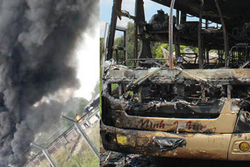 Xe khách cháy ngùn ngụt trên cao tốc Trung Lương