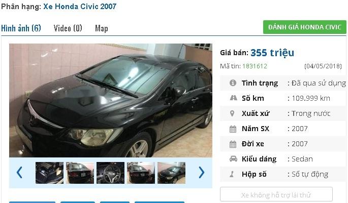 Mẫu ô tô Honda cũ số tự động rao giá 300 triệu tại Việt Nam