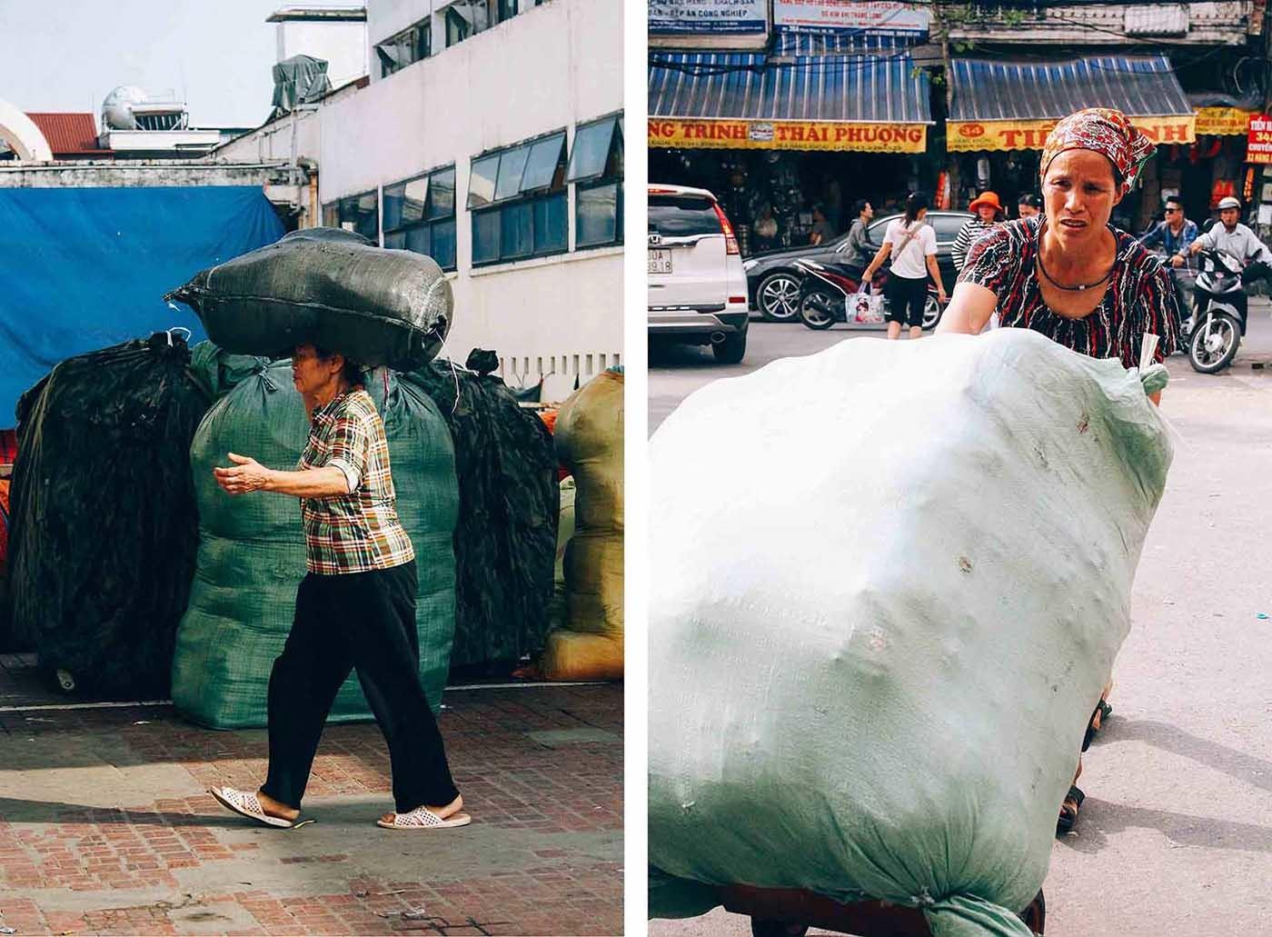 Nữ cửu vạn chợ Đồng Xuân oằn mình trong nắng đầu hè