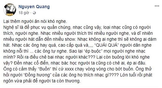 Nhạc sĩ Dương Thụ đính chính về phát ngôn chê Hồng Nhung, Thanh Lam