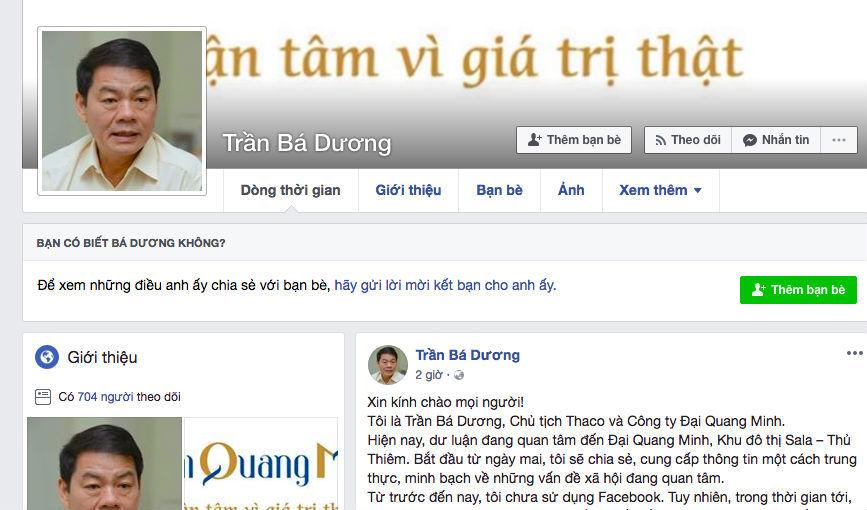 Nóng Thủ Thiêm, tỷ phú Trần Bá Dương lập Facebook công khai thông tin rồi biến mất