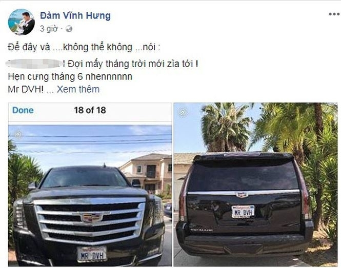 Đàm Vĩnh Hưng tậu Cadillac 7 tỷ, gắn biển số 'MR DVH'